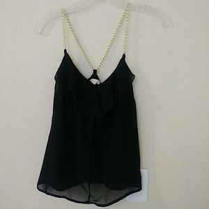 Black sheer L8ter gold knit chain camisole